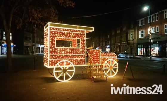 St Albans Christmas Lights Vintage Car