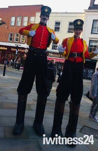 Romford soldiers on stilts