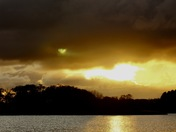 The setting sun, Filby Broad