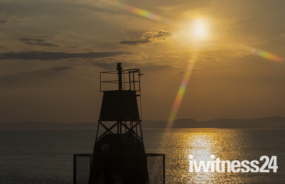 the striking nore lighthous on the shore at portishaed