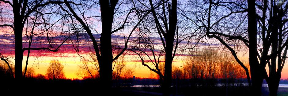 Panorama zonsopkomst bij de Merwede