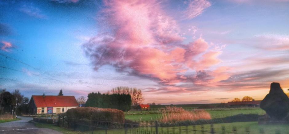 Roze wolken bij zonsopkomst