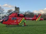 Air Ambulance lands in Abbey Green, Barking
