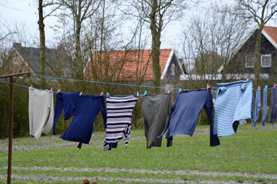 Wasgoed in de wind