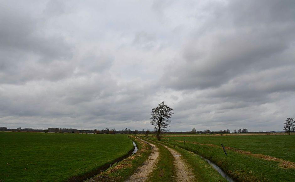 Wolken en veel wind op de vlakte