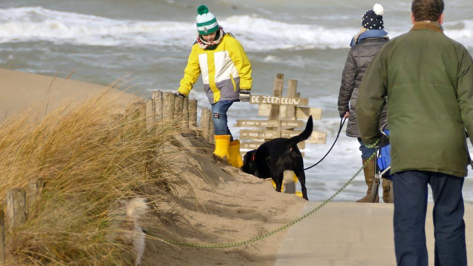 Muts op en naar het strand van Noordwijk