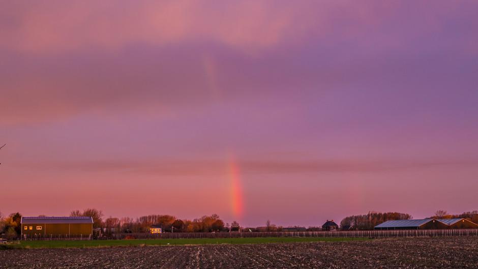 Stukje regenboog vanmorgen bij zonsopkomst