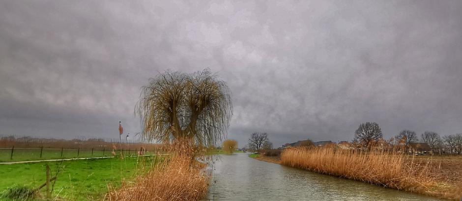 Grijs met een flets zonnetje in Doornenburg vandaag