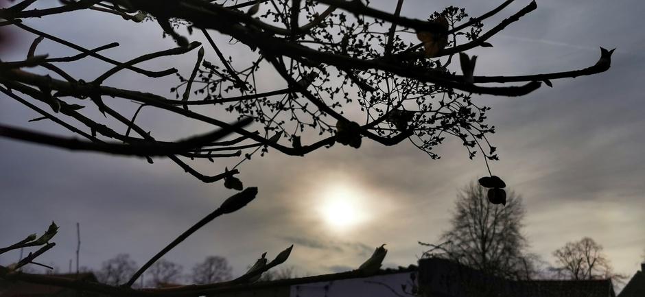 Na wat regen en hagel een waterig zonnetje in Doornenburg