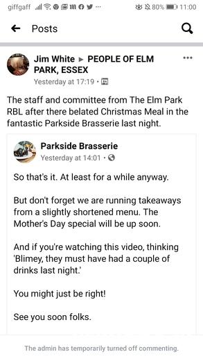 Reckless behavior by Elm Park Royal British Legion