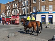 Mounted Police patrolling Barking town centre