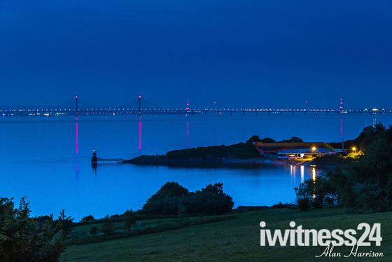 The Severn bridges at night