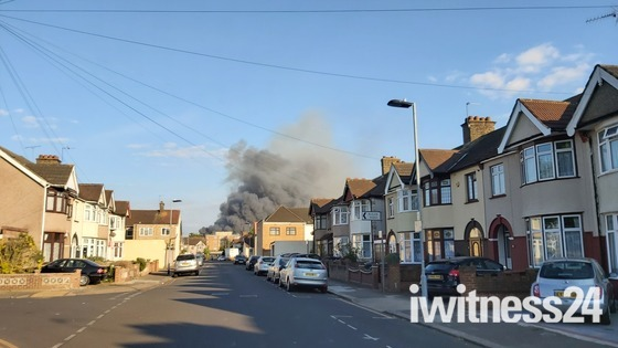 Huge plumes of black smoke seen from Barking town centre