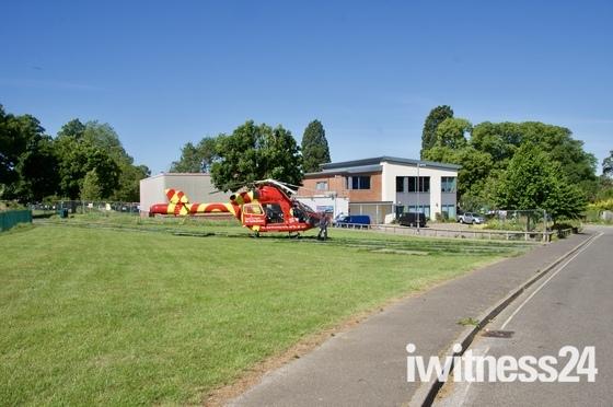 Air Ambulance at Hadleigh today Friday 29/05/2020