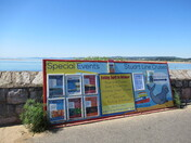 """""""Stuart Lines Cruises"""" info board on Exmouth sea-front"""