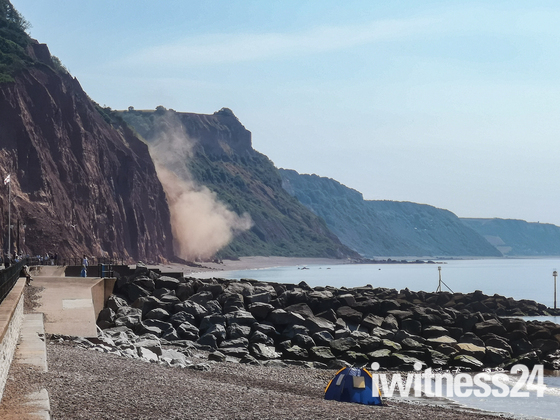 Cliff fall East beach Sidmouth