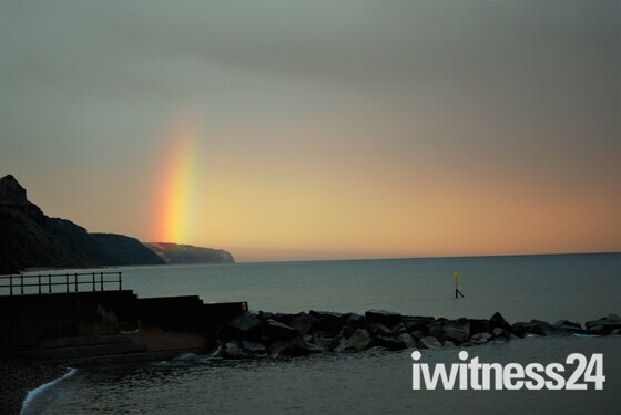 Sidmouth Sea front Rainbow Sunset