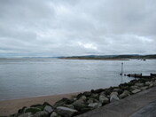 Exmouth sea-front tide out, coming in.