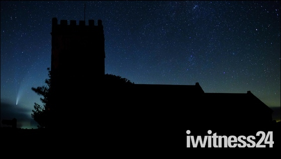 St. Giles Church, Northleigh with Comet Neowise.
