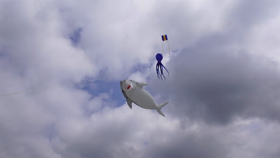 14.05 uur bewolkt en zonnig  weer 21 gr 15.00 uur vliegers in de lucht
