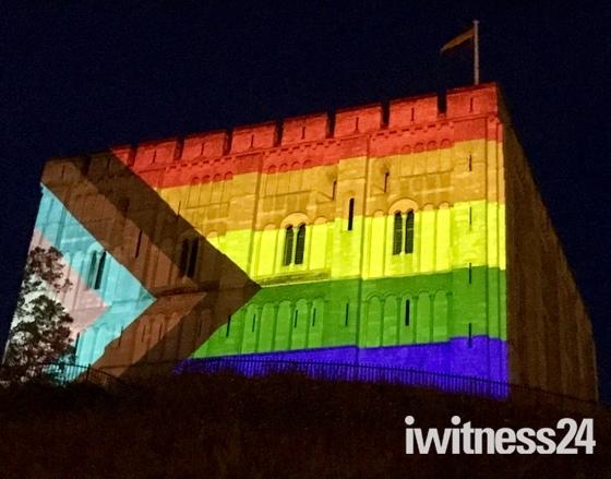 Norwich Castle lit up for Virtual Norwich Pride