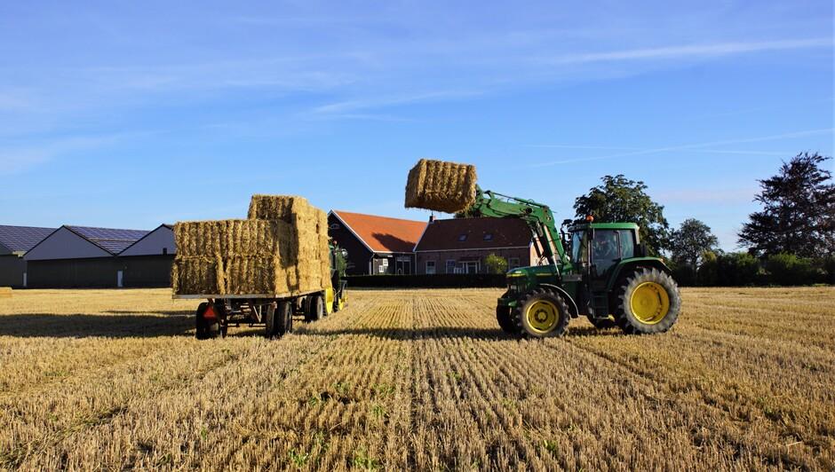 zonnig blauwe lucht sluier bewolking stro laden de oogst is binnen