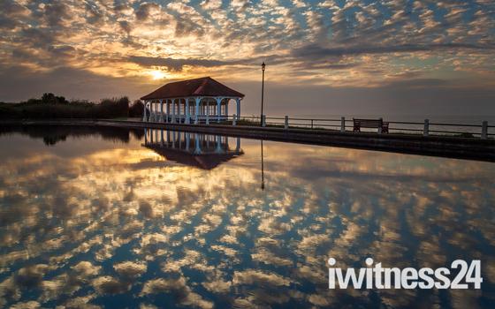 Sheringham boating lake at sunset