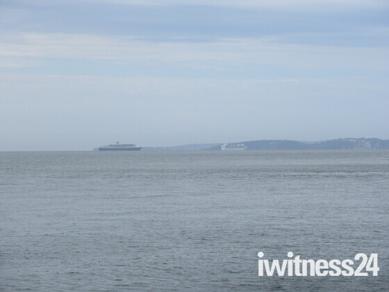 the Queen Mary, Ventura and the Azura cruise boats seen from Exmouth