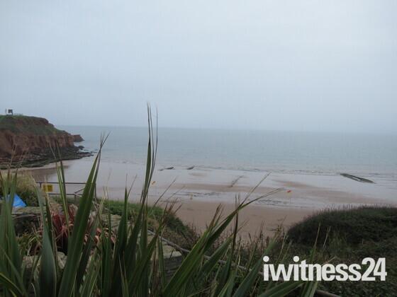 """Sandy Bay beach, from """"South Beach Cafe""""."""