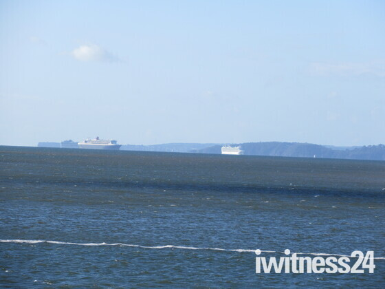 Cruise boats seen in bay from Exmouth on a late September morning