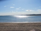 Sun shining on the Exmouth sea-front.