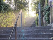 Morning light shining down the stairs