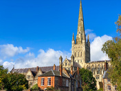 Norwich Catherdral in afternoon autumn sun