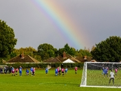 Rainbow overlooking football