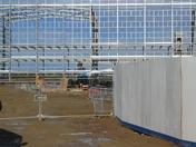 Glittering steel frame building