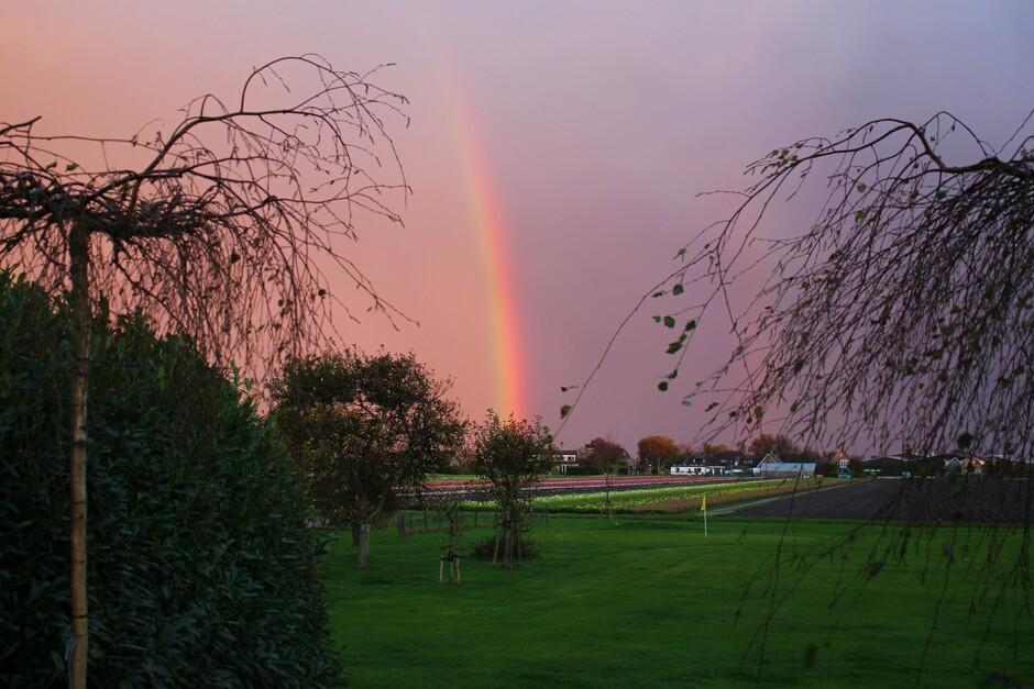 Regenboog en oranje wolken
