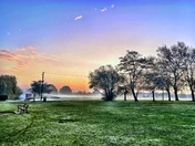 Misty morning walk over Harrowlodge Park