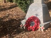 Burgh war memorial and poppy