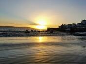 November seaside sunset