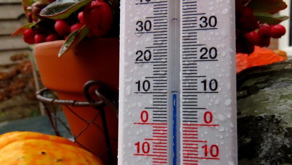Margreet van Vianen: Het regent inmiddels in het zuiden, wat goed te zien is aan de druppels. Thermometer geeft maar 9 graden aan.