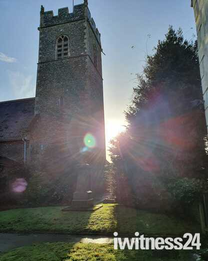 A slice of sunlight at St Peter's Church, Cringleford