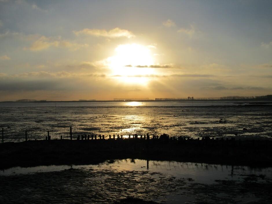 Na zonsopkomst, mooie weerspiegeling op de bodem van de Oosterschelde