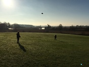 How hill on a frosty morning playing frisbee
