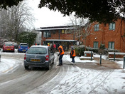 Hadleigh Health Centre Volunteers working in atrocious conditions this morning to get the Covid 19 vaccinations done 3