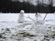 Celebrating snowmen on Mousehold Heath