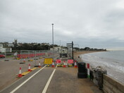 Exmouth sea-front during road-closure and road works.