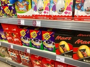 Easter eggs in the shops.