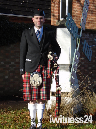 Windmill House Runwoodhomes Residential Home Wymodham Celebrate burns day celebrations helped by piper   Alisdair McClymont.
