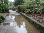 A waterlogged footpath between Manor Gardens leading the footpath behind the Exmouth Pavilion.