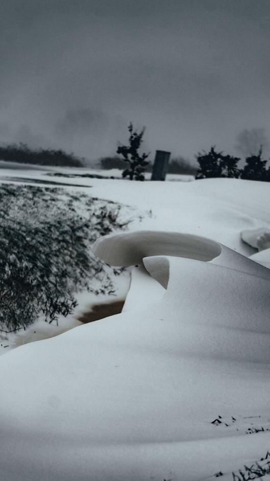 Bijzondere sneeuwduin in de slootswal